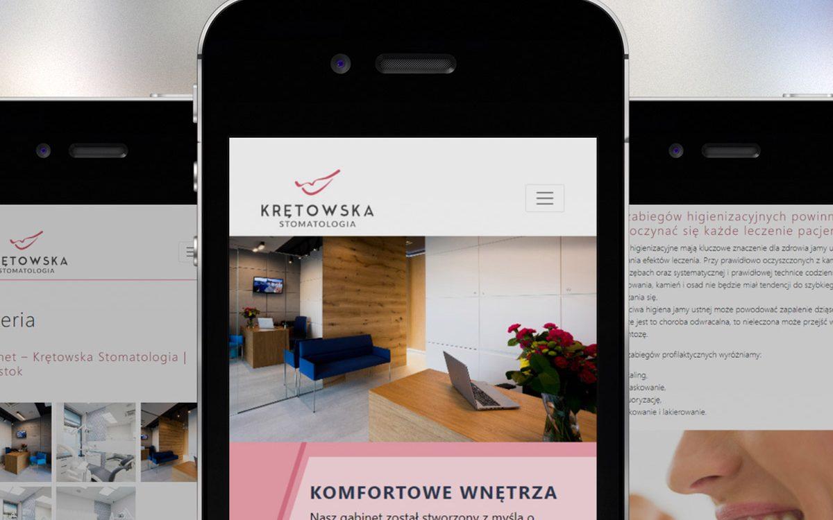 Projekt i wykonanie strony internetowej Krętowska Stomatologia Białystok - Projektowanie stron internetowych Clouds.pl